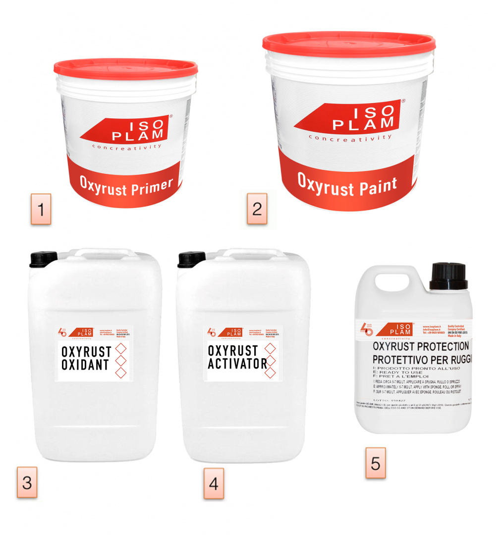 Kit attrezzatura per pittura effetto acciaio corten for Acciaio corten prezzo al kg