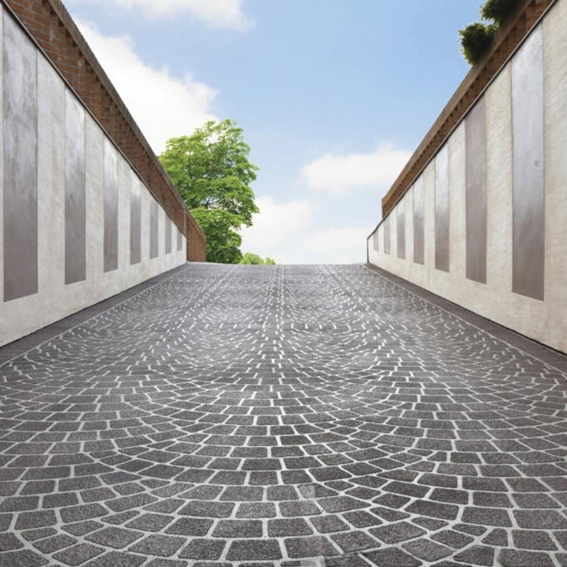 Stencil spray concrete floor