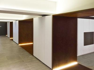 Interni Studio Kuadra architettura e design Cuneo Piemonte in Oxyrust pittura ruggine effetto corten
